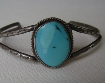 bright turquoise cuff, sterling