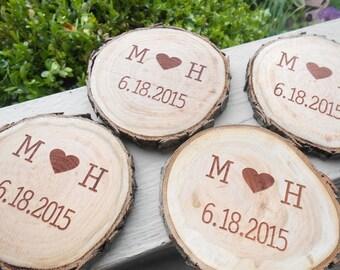 Rustic Wood Round Coaster Set. Set Of 5. Wedding Gift, Groomsman, Birthday, Anniversary, Rustic Decor, Cabin Decor.