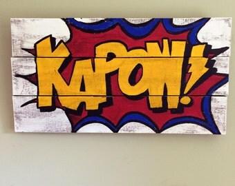Kapow! Wall Art - Reclaimed wood wall art, salvaged wood wall art, comic books - LARGE