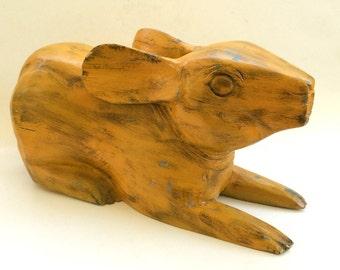 Vintage Wooden Rabbit    Folk Art Sculpture