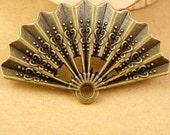 12pcs Fan Charms Antique Bronze Vintage Fan Pendant Charm Jewelry Supplies
