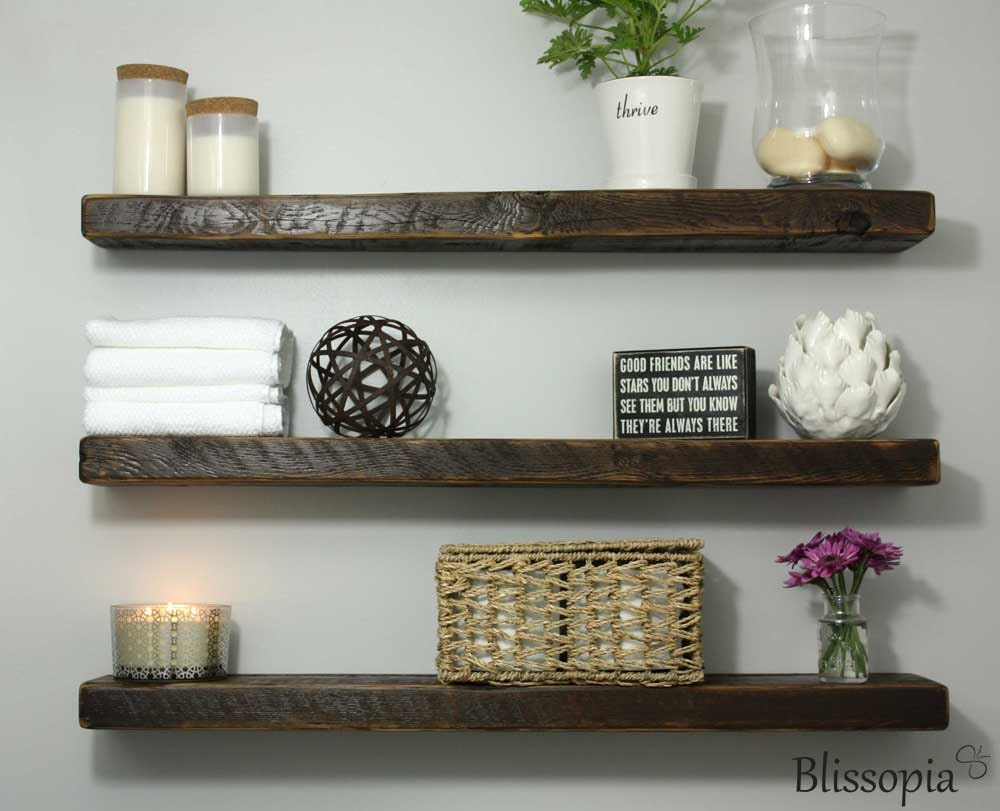 Reclaimed Wood Floating Shelf Salvaged Wood Shelf by Blissopia