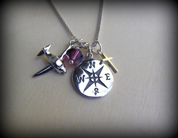 Silver plane necklace, world jewelry, travelers necklace, graduation gift, compass rose, pilot graduation, Airforce
