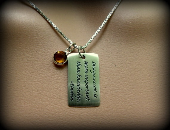 Sterling silver dogtag jewelry, Einstein quote, graduation gift, men's jewelry, ladies jewelry, birthstone necklace