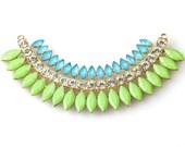 Neon Stones Rainbow Necklace Pendant Set, Resin Stones and Rhinestones, for Statement Necklace,  Pkg of 1 Set, L0FN.UN91.S01