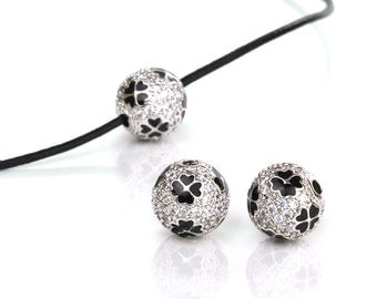 Micro Pave Ball Beads, Black and White CZ Pave Beads with Clover, Cubic Zirconia Pave Bead, 10mm, Pkg of 1 PC, B0TA.SI06.P01