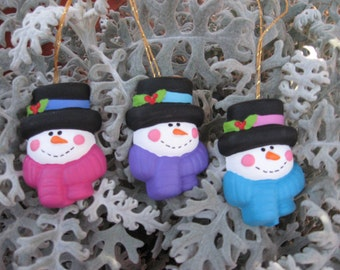Snowman Trio Ornaments - Set of 3