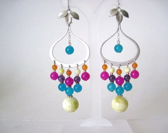 Multi jade earrings