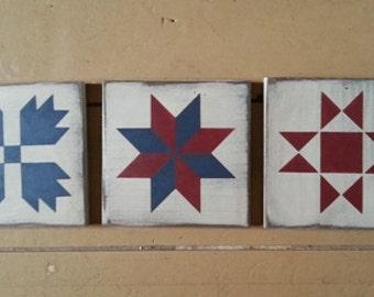 Primitive wooden Quilt squares