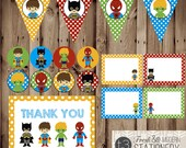 SUPERHERO Party Package, Super Hero Party, SUPERHERO Party Favors, Party Accessories, super friends, banner, food cards, thank you card