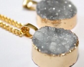 Mini Silver Druzy Gold Necklace Druzy Necklace