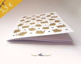 Cat Pattern Book A6 black and gold