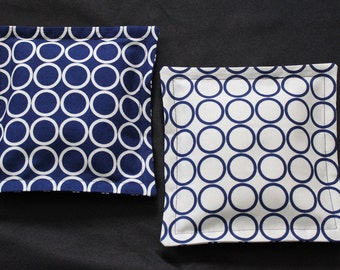 100% Flaxseed Boo Boo Pack Set  ... Circles ... Navy Blue ... Cream ... Unscented Washable Reusable Hot Cold Packs for Kids