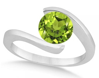 Tension Set Solitaire Peridot Engagement Ring 14k White Gold (1.00ct)
