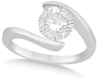 Tension Set Solitaire Diamond Engagement Ring Palladium (1.50ct)