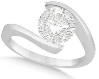 Tension Set Solitaire Diamond Engagement Ring Palladium (2.00ct)