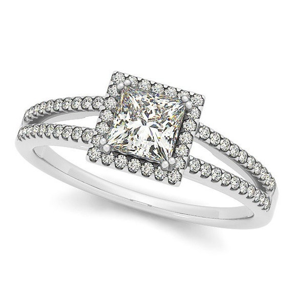 princess cut halo engagement ring split shank by