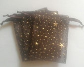100 4x6 Brown Organza bags, printed with stars & dots favor bags, jewelry supplies