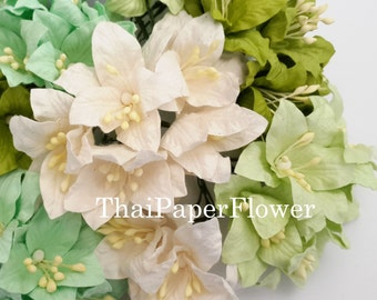 10 Green White Mixed Chic  Lily Wedding Paper flower scrapbook card making craft supply  839 /LY1