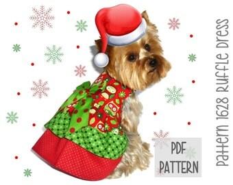 Christmas Dog Dress SEWING PATTERN * 1628 Ruffle Dog Dress * Designer Dog Dress * Dog Harness Dress * Pet Clothes * Dog Apparel
