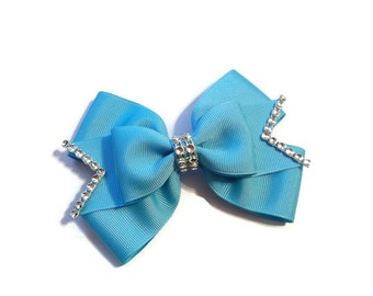 Layered Turquoise Boutique Bow with Rhinestone Trim-Turquoise Stacked Bow-Turquoise Boutique Bow-Turquoise Bow (5 1/2 inches Wide)