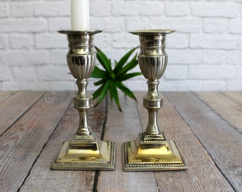 Silver Plate Candle Holders , Square Candlesticks , Candleholders, Silver Candle Holders, Taper Candlesticks, Taper Candle Holders