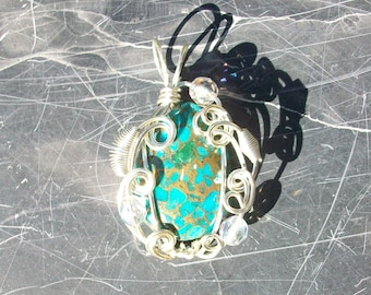 Wire Wrapped Teal Sea Sediment Jasper Pendant by Rebecca Weber