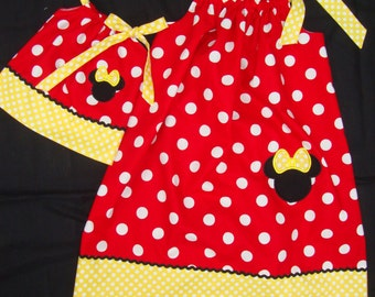 Girls Minnie Mouse Pillow Case Dress and matching doll dress option- Disney Vacation Dress