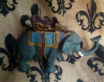 ADORABLE repro Cast Iron Elephant Mechanical Bank-Works Great!