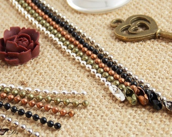 100 Premium Ball Chain Necklaces - 5 Color Choices - Ball Chain Connectors Included