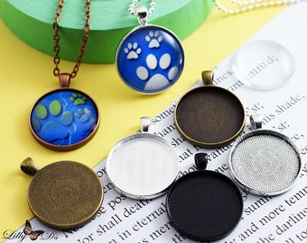 10 DIY Kits - 30mm Trays, Glass, and chains . 30mm Photo Pendant Trays and Glass Cabochons and chains. Mix-N-Match 5 Colors.