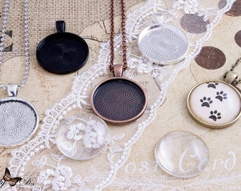 Pendant Setting -5 Kits- 1inch 25mm Circle Pendant Blanks - 5 Ball chain or Rolo necklaces - 5 Glass Cabochans