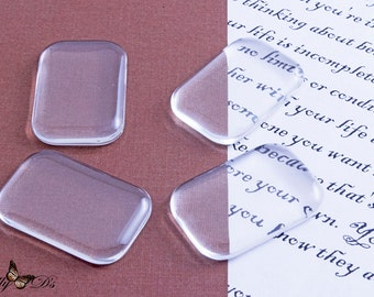 10 20x30mm Rectangle Glass Cabochon Tiles - Petite Rectangle Photo Glass - Dome Inserts