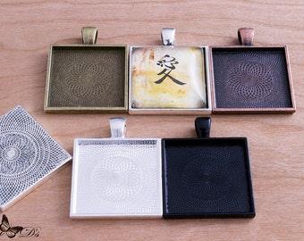 50- 1 inch Square Blank Pendant Trays - Blank Bezel Cabochon - Findings Blank Pendant Bezel Tray