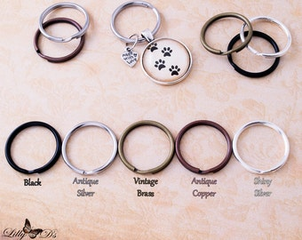 25 Split Key Rings - Keychain Split Rings - 25mm 1 inch - 5 Color Choices - Silver, Antique Silver, Vintage Brass, Antique Copper, Black.