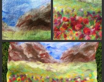 Sale  Multicolor felt  Rug, 100% Wool Rug, eco