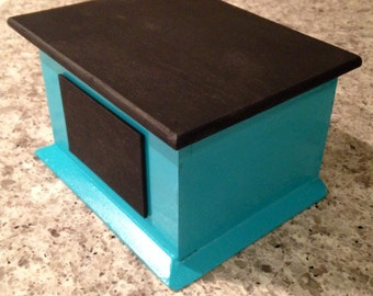 Teal Storage Box with Chalkboard Top and Label
