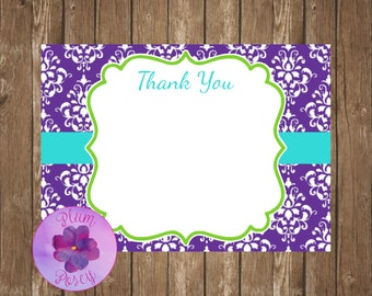 Purple Damask Thank You Note