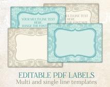 Editable labels Editable tabs editable printable labels Editable PDF personalized labels diy labels Labels for jars labels for mason jars