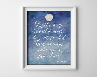 Nursery Art Print - Twins Gift - Little boys should never be sent to bed - Peter Pan quote - Blue and White - Nursery Decor - SKU:74