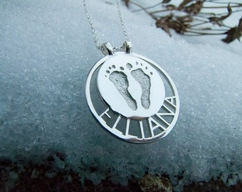 Custom Baby Actual Footprints Sterling Silver Pendant Mother's Necklace With Child Name