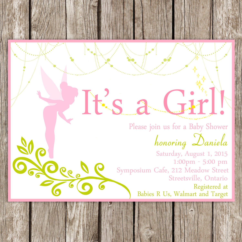 Fairy baby shower invitation tinkerbell baby shower diy - Baby shower invitations and decorations ...