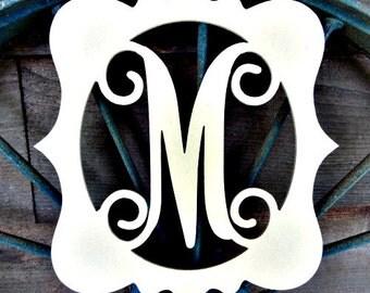 Unfinished KATIE Framed MONOGRAM Letter (M), Paintable, Wooden