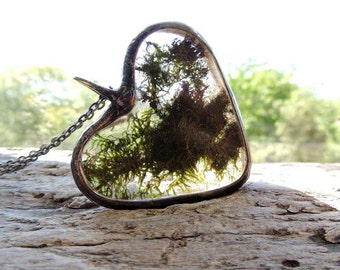 Real Moss Necklace, terrarium necklace, dried moss,Real moss necklace, botanical,science jewelry ,natural specimen ,real plant jewelry