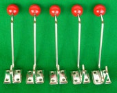 5 pieces of  Vintage 70's New Old Stock German Coat/ Hat Double Hooks NR423BNPR/5