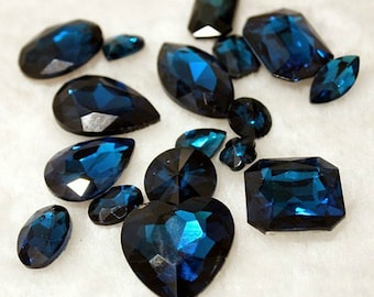 Dark Blue -- 10 pieces assorted Cut Back Clear Crystal Glass Gems for Projects