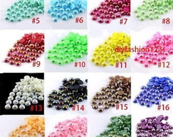 24 colors -- 10mm 100 pieces flatback resin Iridescent AB Pearl Cabochons ( 24 colors to choose )