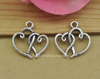 25pcs 19x19mm Antique Silver Heart to Heart Charms Pendants Vintage Entwined Heart Charms Connectors
