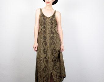 Vintage 90s Dress Midi Dress Green Gold Brown Embroidery Sundress 1990s Dress Soft Grunge Dress Boho Festival Hippie Dress M Medium L Large