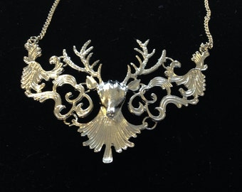Handmade Deer Stag Necklace in Silver or antique Gold color